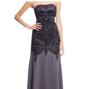 Sue Wong Grey/Black Nocturne Formal Dress